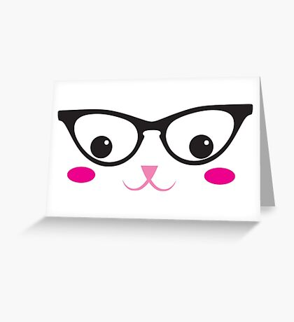 Cute kitty in glasses Greeting Card