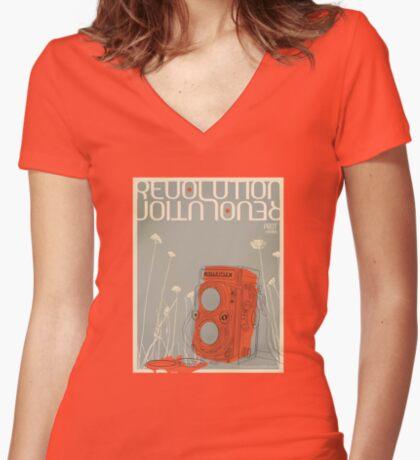 Revolution Print Women's Fitted V-Neck T-Shirt