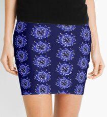 Flower Swirl - Blue Mini Skirt