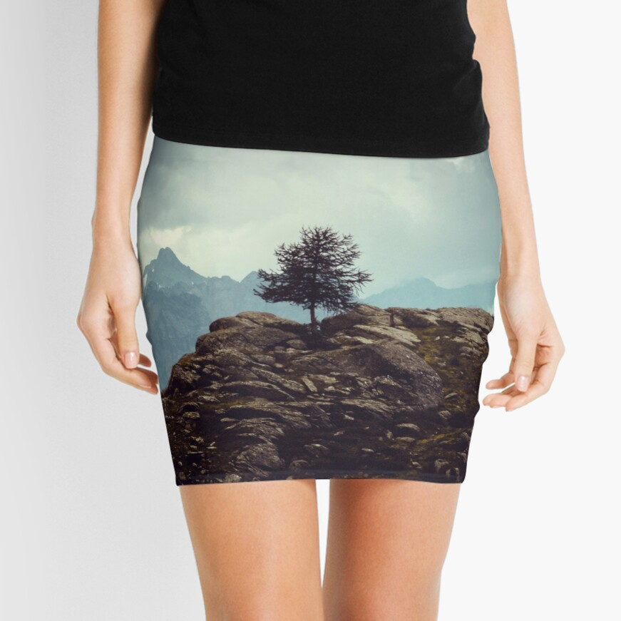 Majestic Mountains and a lone tree Mini Skirt