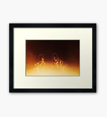 big heads, from bike to recliner  Framed Print