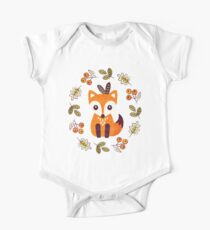 Little Fox with Autumn Berries Short Sleeve Baby One-Piece