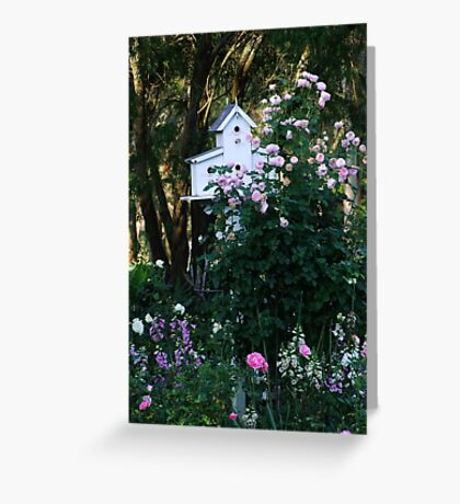 Pink Rose and Birdhouse! Greeting Card