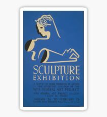 WPA United States Government Work Project Administration Poster 0648 Sculpture Exhibition Sticker