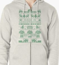 Saskatchewan Ugly Sweater (Green) Zipped Hoodie