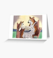 This Corgi mom was a stickler for table manners Greeting Card