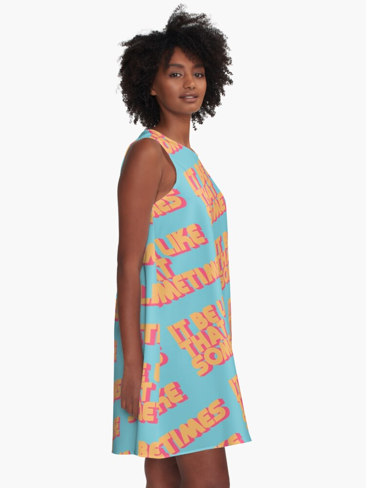 Alternate view of It Be Like That Sometimes Retro Blue A-Line Dress