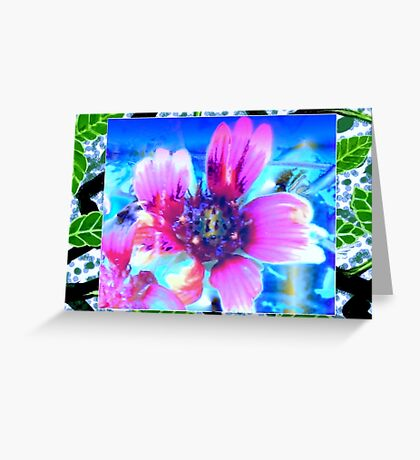 Blanket flower design in blue Greeting Card
