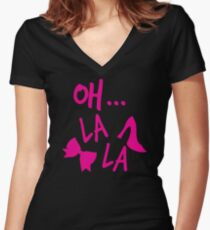Oh La La! with bow and heels Women's Fitted V-Neck T-Shirt
