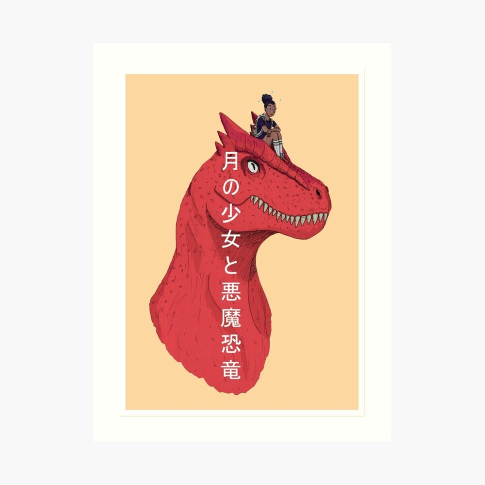 Mond-Mädchen und Teufel-Dinosaurier - japanischer Text Kunstdruck