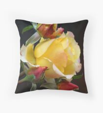 Yellow Rose Surrounded By Three Rose Buds Throw Pillow