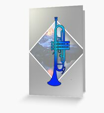 Blue trumpet with Mountains Greeting Card
