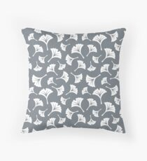 Cool Grey Ginkgo Leaves Throw Pillow