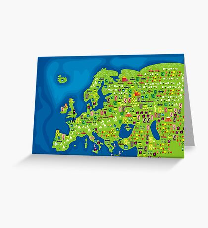 cartoon map of europe Greeting Card