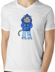 Bad Day Kitty Mens V-Neck T-Shirt