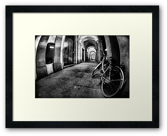 Fisheye Night Cityscape Bicycle Arches and lights - Italy by Francesco Malpensi