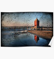 Seacsape, textured Lighthouse and reflections Poster