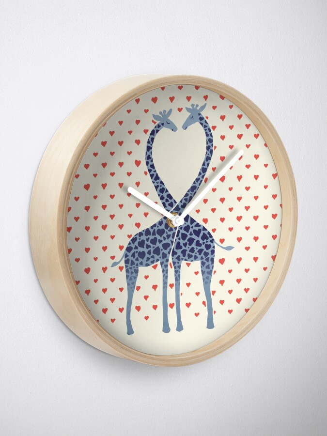 Alternate view of Giraffes in Love - A Valentine's Day Illustration Clock