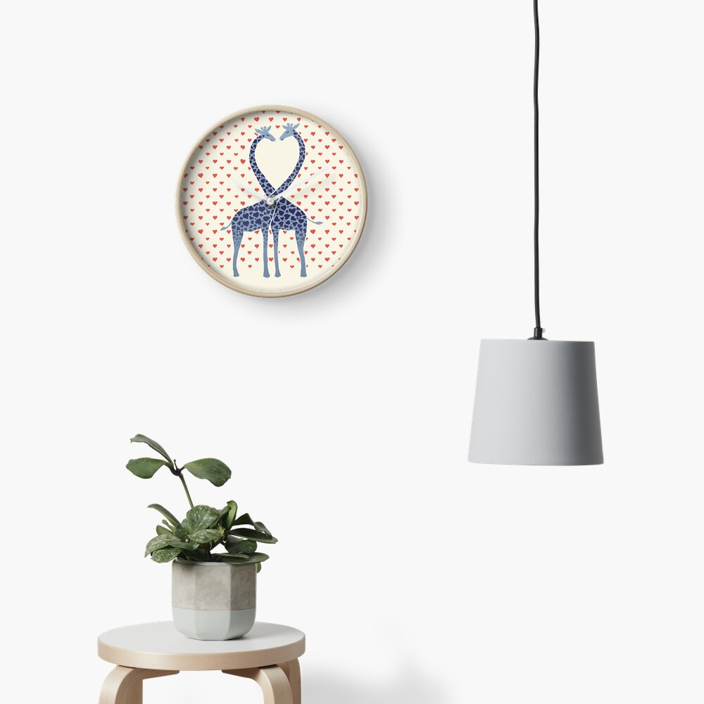 Giraffes in Love - A Valentine's Day Illustration Clock
