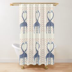 Giraffes in Love - A Valentine's Day Illustration Shower Curtain