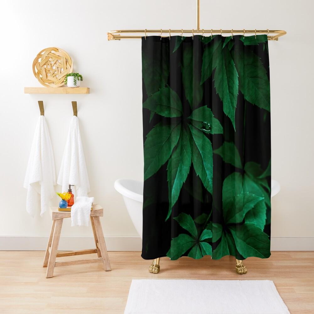 Dark Leaves 7 Shower Curtain