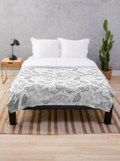 Butterflies and moths black and white Throw Blanket
