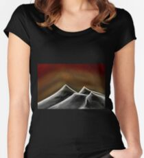 Red Hazed Black Mountains Women's Fitted Scoop T-Shirt