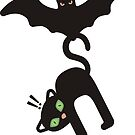 Halloween bat flying away with cute cat by BigMRanch
