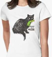 Funny Halloween cat zombie arm prezzie Womens Fitted T-Shirt