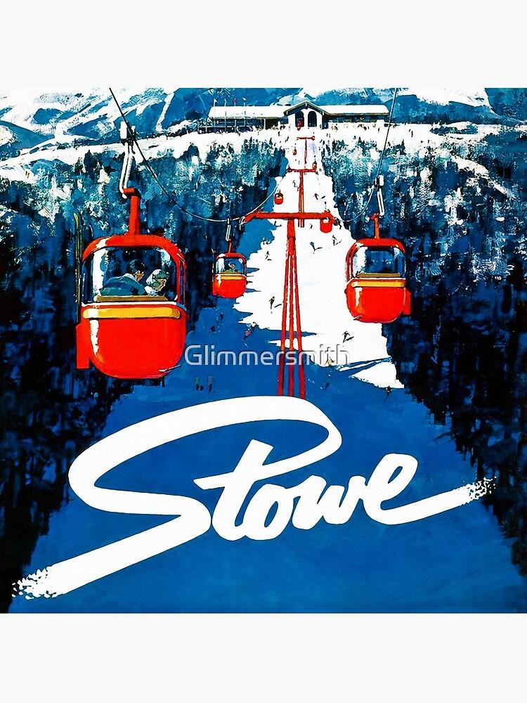 Vintage Stowe gondola winter travel ski poster by Glimmersmith