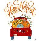 Happy Harvest Autumn Season Fall Pumpkin Truck  by DoubleBrush