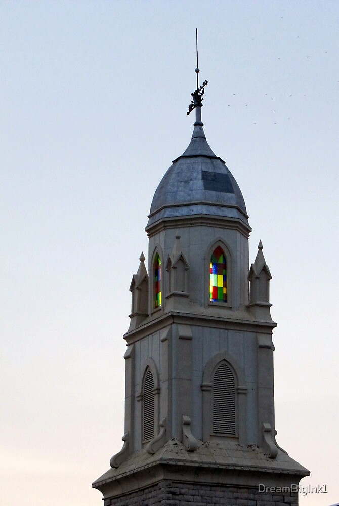 Steeple and Stained Glass by DreamBigInk1