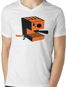 Trendy barrista Italian Coffee machine with a cup of coffee Mens V-Neck T-Shirt