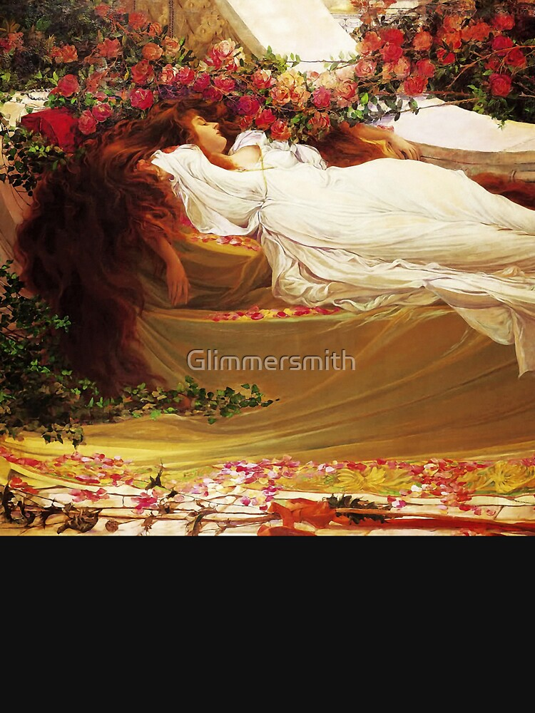Beauty Sleeps amidst the roses,  Vintage Pre Raphaelite Vintage art by Glimmersmith