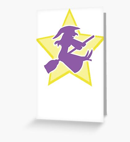 Purple witch on a BROOMSTICK Greeting Card