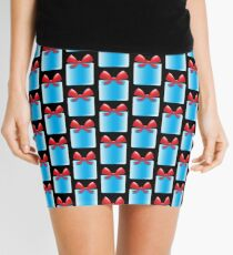 Blue gift or present with a red bow Mini Skirt