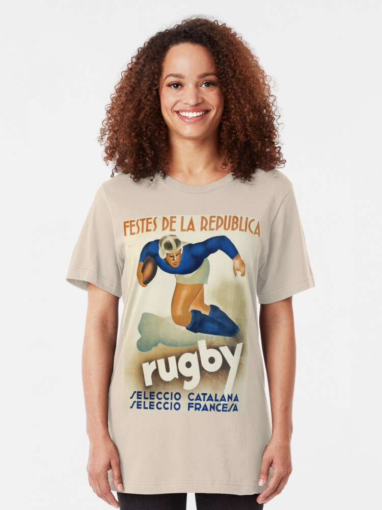 Alternative Ansicht von Spanisches Rugby-Sportreiseplakat der Weinlese-Art Deco Slim Fit T-Shirt