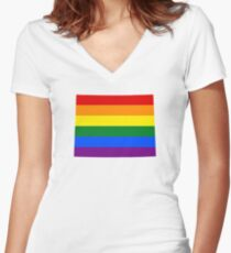 LGBT Flag Map of Wyoming  Women's Fitted V-Neck T-Shirt
