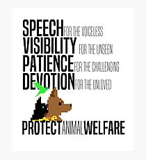 Protect Animal Welfare (black text) Photographic Print