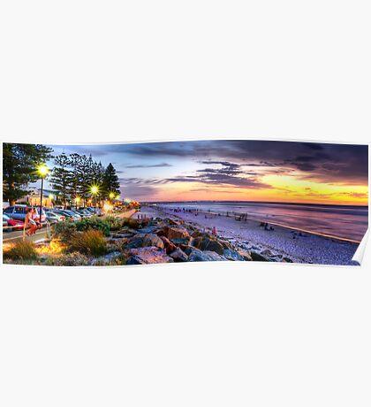 Sunset Over Henley Beach - Panorama Poster