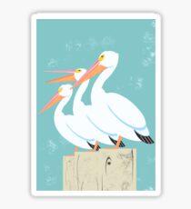 White Pelicans Sticker