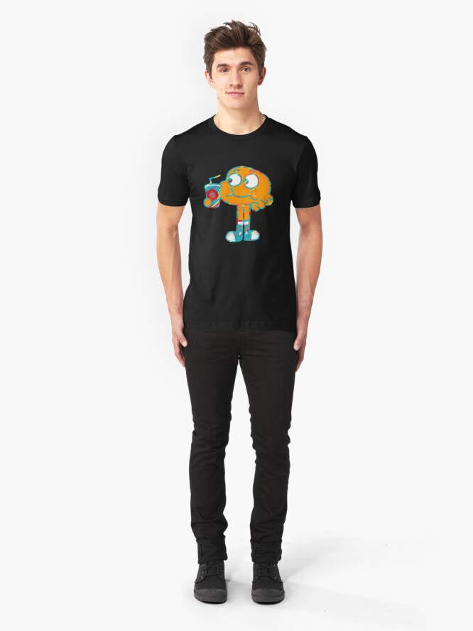 Alternate view of Colorful Doodle Darwin - The Amazing World of Gumball Slim Fit T-Shirt
