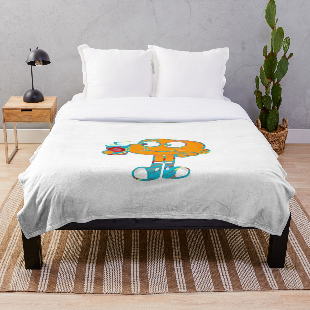 Colorful Doodle Darwin - The Amazing World of Gumball Throw Blanket