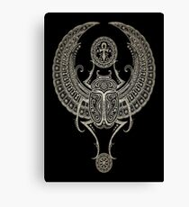 Dark Winged Egyptian Scarab Beetle with Ankh  Canvas Print