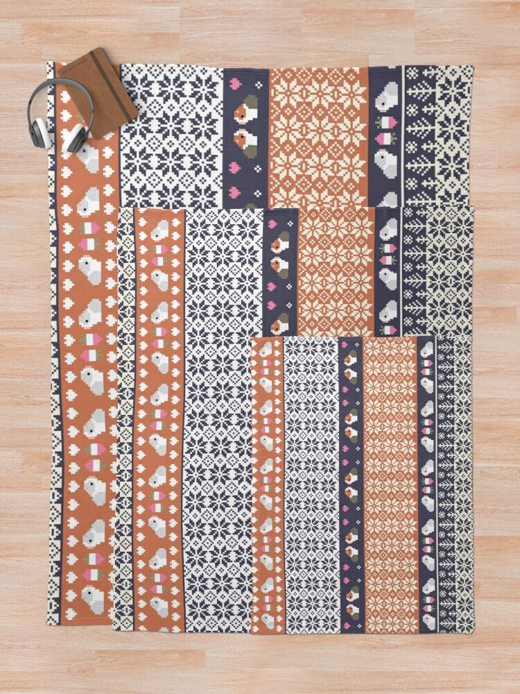Alternate view of Guinea Pigs Christmas Sweater Pattern  Throw Blanket