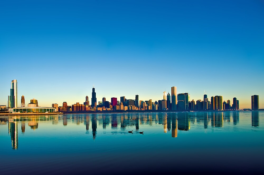 Chicago skyline at sunrise. by Steve Ivanov