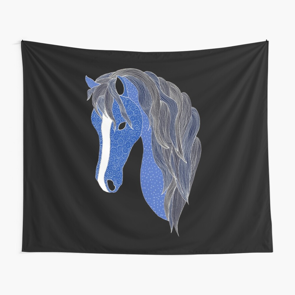 Blue Pony 2 - Midnight Blue Wall Tapestry