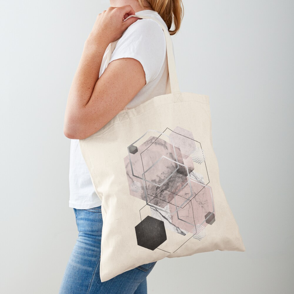Blush and Grey Geometric Tote Bag