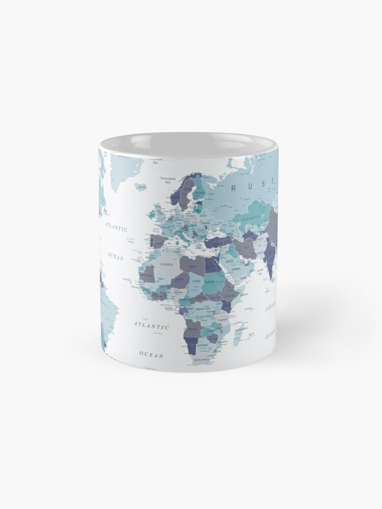 Alternate view of World Map in Blue Mug