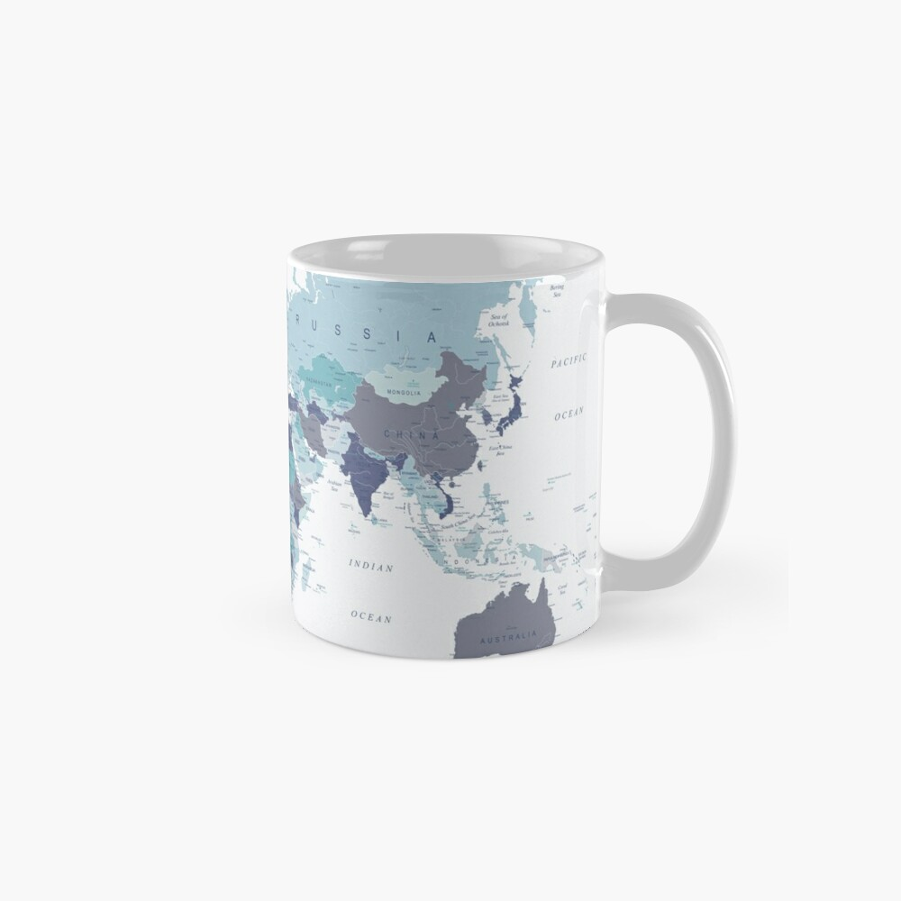 World Map in Blue Mug
